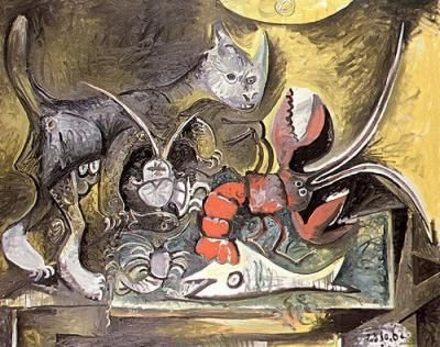 Pablo-Picasso-Nature-morte--chat-et-homard-166873