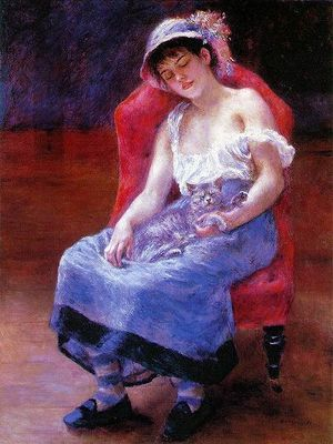 auguste-renoir-fille-dormant-avec-chat