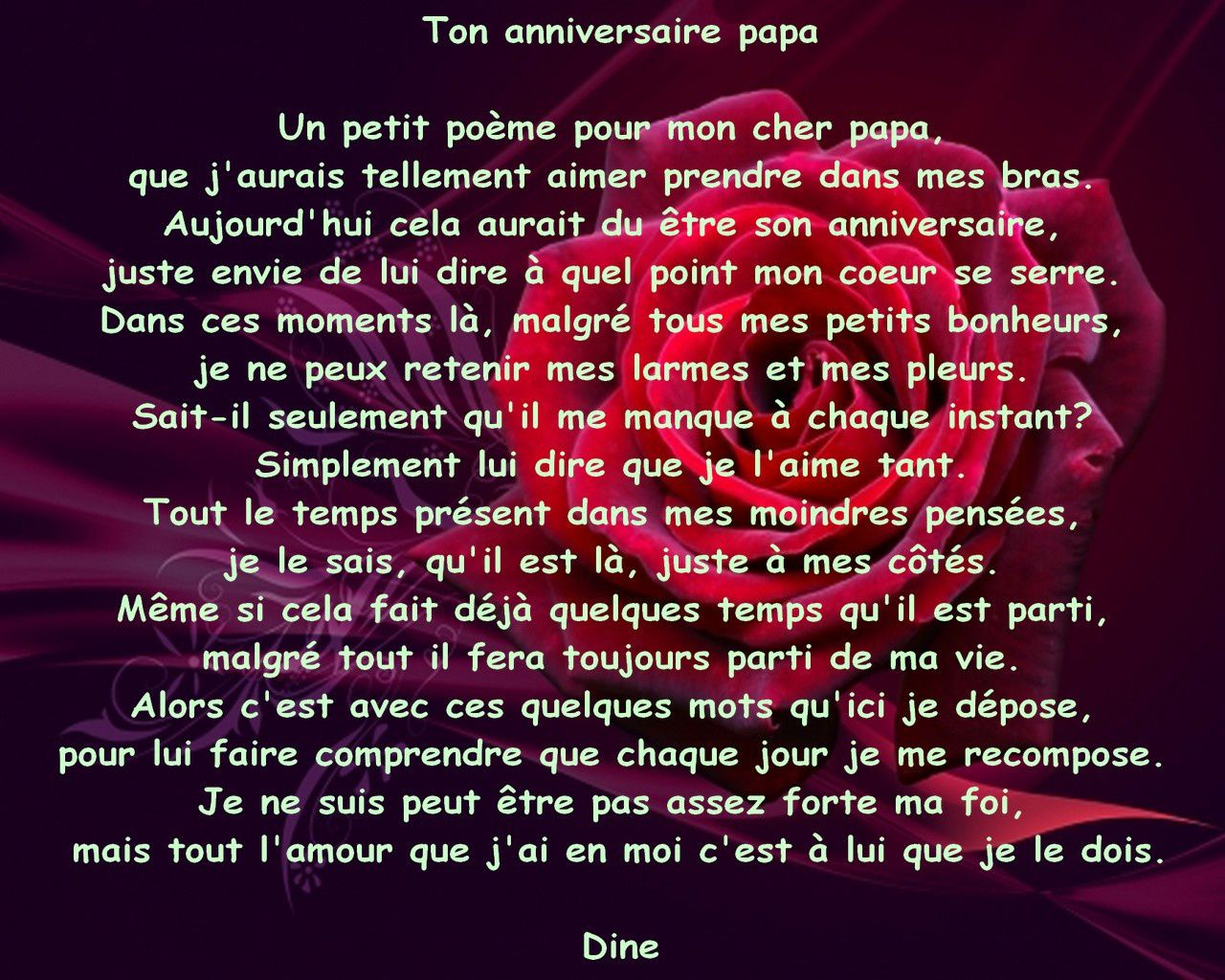 Top Ton anniversaire Papa - mes paroles en maux QX43