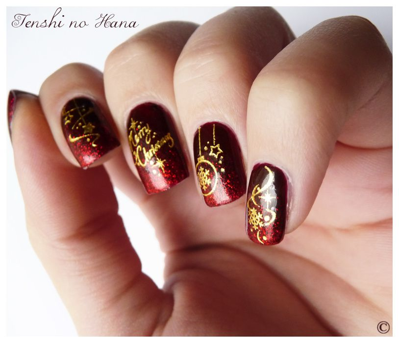 no l 2011 merry christmas nature nails nail art by tenshi no hana. Black Bedroom Furniture Sets. Home Design Ideas
