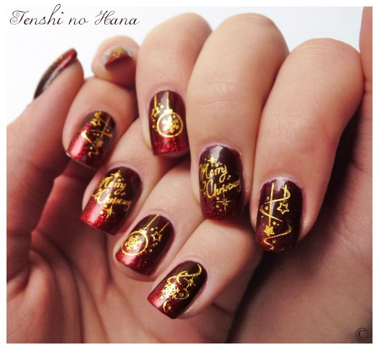 No l 2011 merry christmas nature nails nail art by tenshi no hana for Comdecoration pour ongle