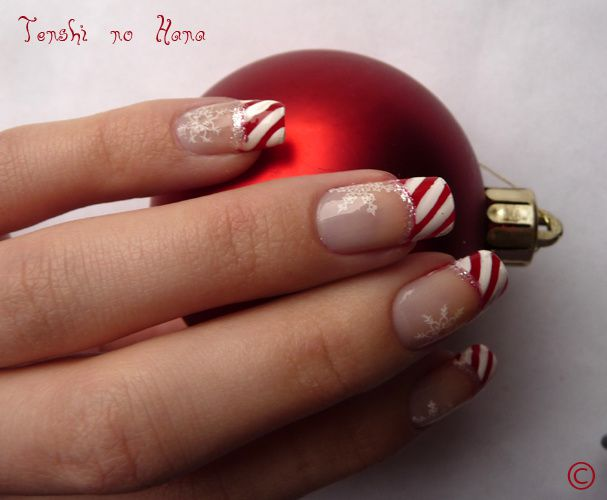 Manucure Decoration Ongles French Blanche Fete Noel