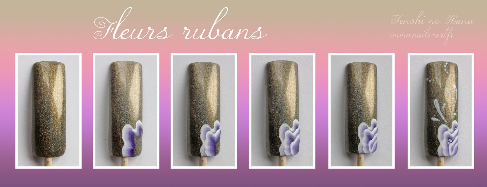Tuto photos nail art fleurs rubans nature nails nail art - Tuto nail art debutant ...