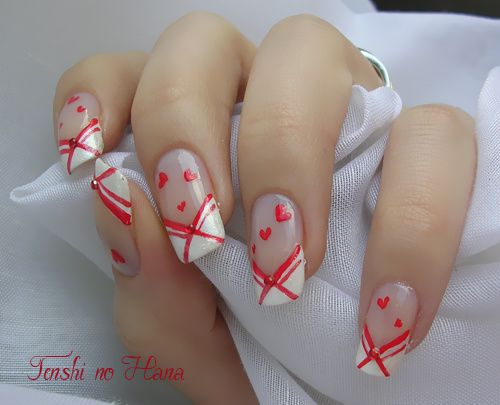 St valentin final act nature nails nail art by tenshi no hana - Ongle st valentin ...