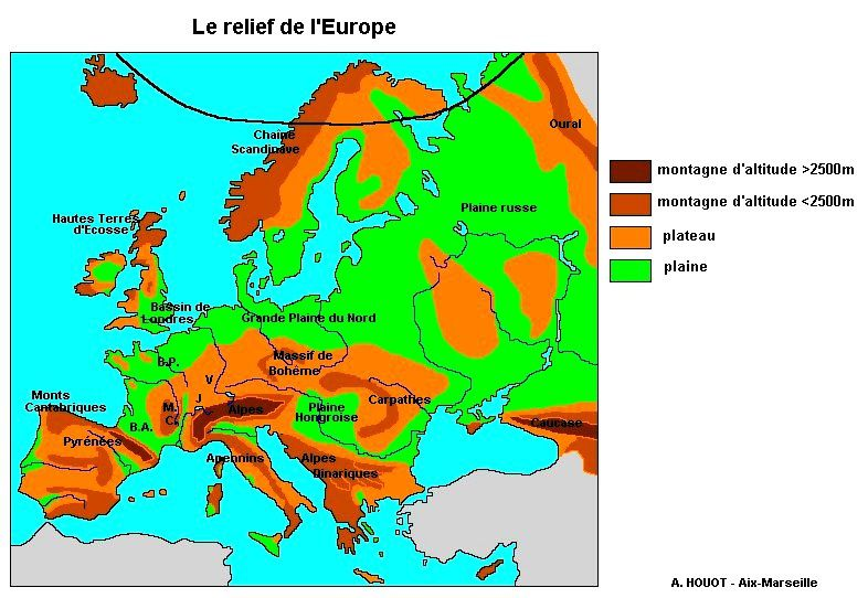 Europe relief (Co) H.Houot