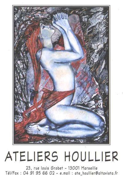 Carte postale de tableau, la peinture '' Priére D'Amour '' , huile sur toile de grand format : 162x114Cm