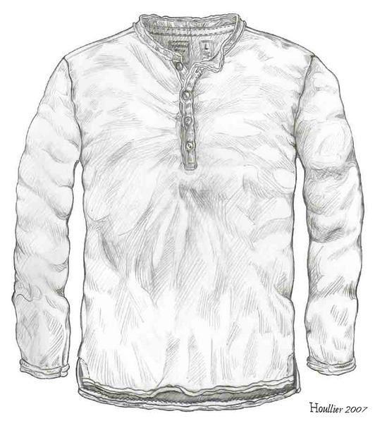 Croquis crayon gris sur papier A4; Dessin d'étude de tee shirt manches longues.