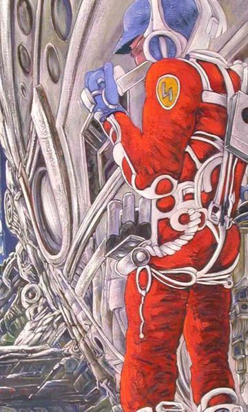 Détail du personnage et des effets de carrosserie sur le vaisseau spatial; peinture par Alexandre Houllier.