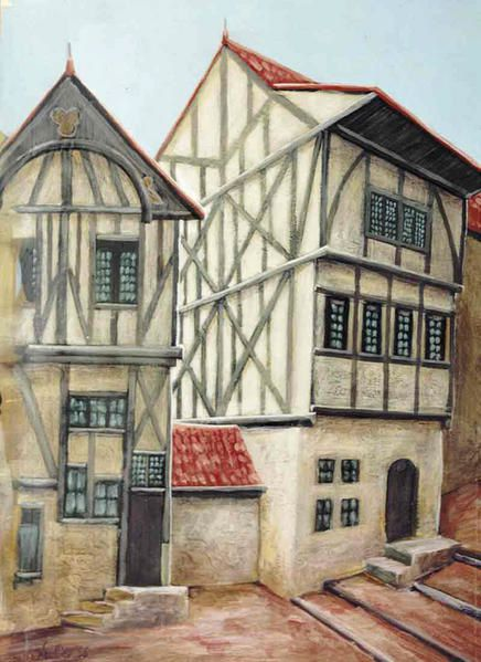 Illustration acrylique sur papier 39 39 alsace 39 39 encadr e for Dessin facade maison