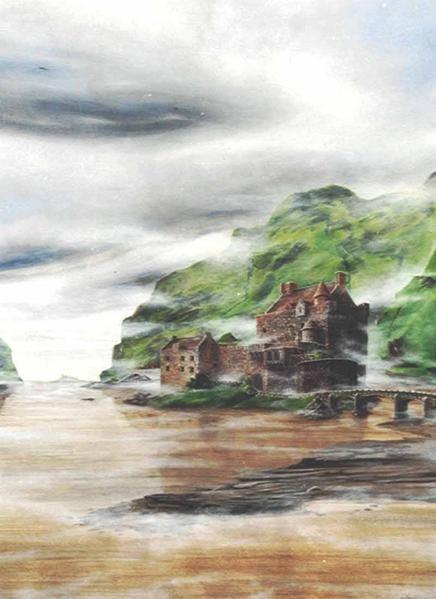L'illustration acrylique '' Ecosse '' , Photo argentique rescannée de cette peinture mise depuis sous verre.