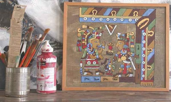Décoratives paintings, oil on canvas and frame 40x48Cm, in the workshop, mexican fresco style by Alexandre Houllier french artist painter and sculptor in provence