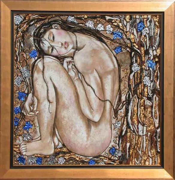 figuratives Oils on wood, portraits and nudes, modern contemporary arts. Le tableau '' UCCELINO ''. Painting by Raphaelle Zecchiero, french artist painter