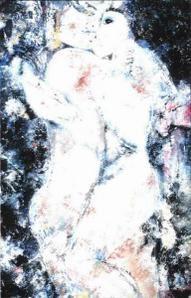 Couple enlacé, tableau moderne contemporain '' Première Rencontre ''.
