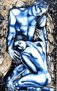 Tableau moderne contemporain, nus bleus, couple cubiste grand format '' La Supplique ''.