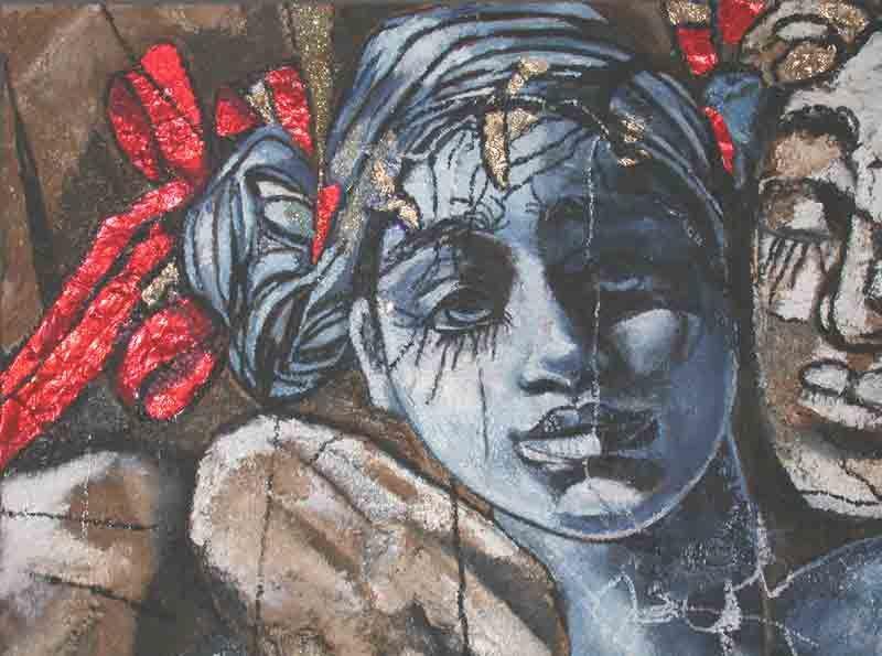 Tableau portrait peinture sur bois de Raphaelle Zecchiero; détail de '' Le Faune Et La Poupée '' réalisé en 2009