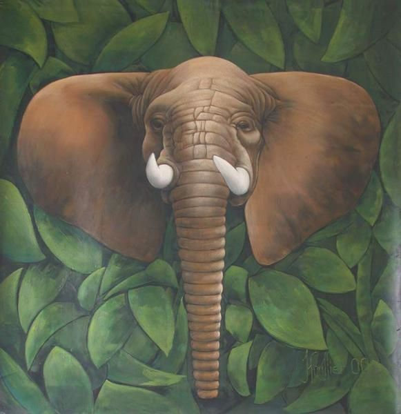 The picture '' ELEPHANT '' By Alexandre Houllier, big size 1M55x1M72, african animal, 0il painting