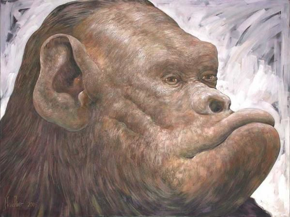 Picture of a monkey : original painting by Alexandre Houllier french artist painter