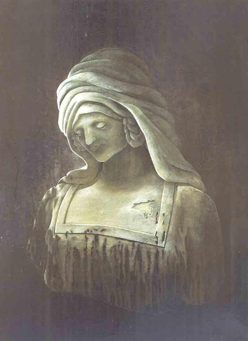 Buste en cire jaunie '' L'Oubli '', illustration acrylique sur papier de 50x65Cm, photo argentique récupérée