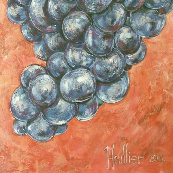 Fruts paintings 100x73Cm '' RAISIN NOIR ''. Oils on canvas, décorative and modern contemporary art. Picture by Alexandre Houllier, french artist painter