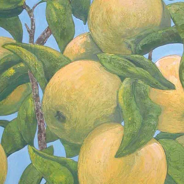 Pommes et feuillages, agrandi d'un détail de la peinture
