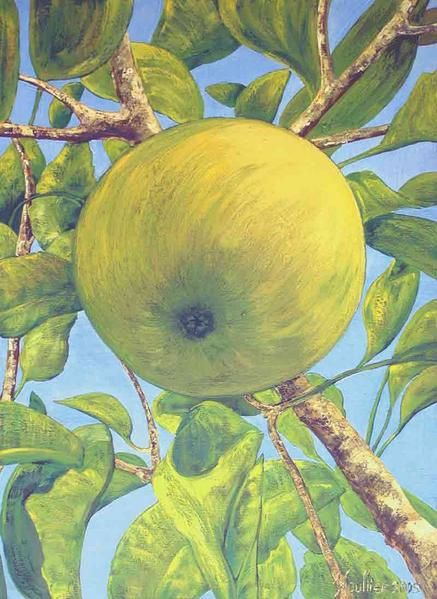 Blu sky and apple in a tree. The picture '' GRANY ''. Oil on canvas big size 1Mx73Cm. Décorative painting by Alexandre Houllier, French artist painter and drawer