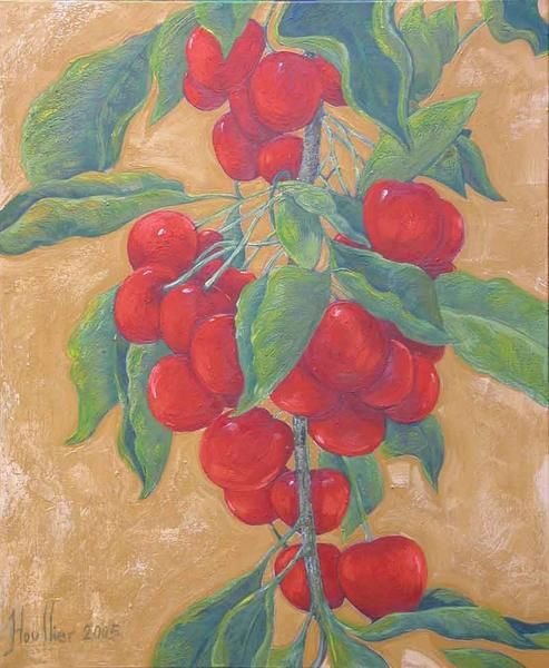 Oils on canvas, Décoratives paintings, Végétables and fruts, cherry. Le tableau '' LES CERISES ''. Painting by Alexandre Houllier, french artist drawer and painter from provence