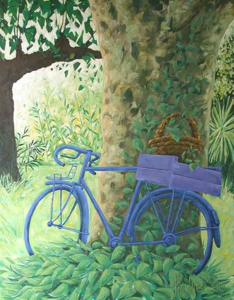 Green landscape and blue bicycle. Décorative painting by Alexandre Houllier, young french artist painter and sculptor in provence