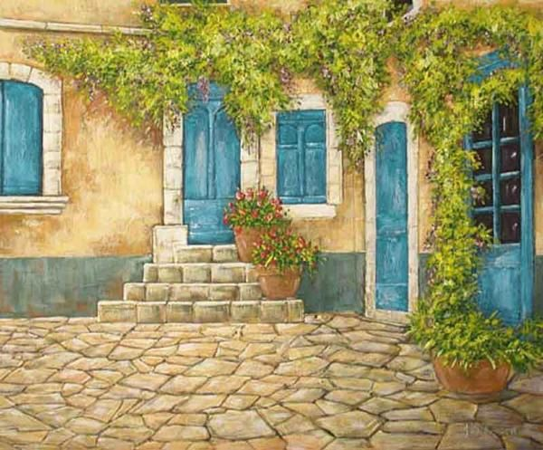 Wistaria on wall in provence; oil on canvas painting