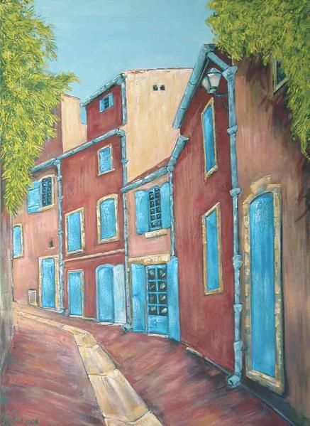 Villages and landscapes from provence. Houses in a street '' RUE ROUSSE ''. Painting by Alexandre Houllier, french artist drawer and sculptor from provence