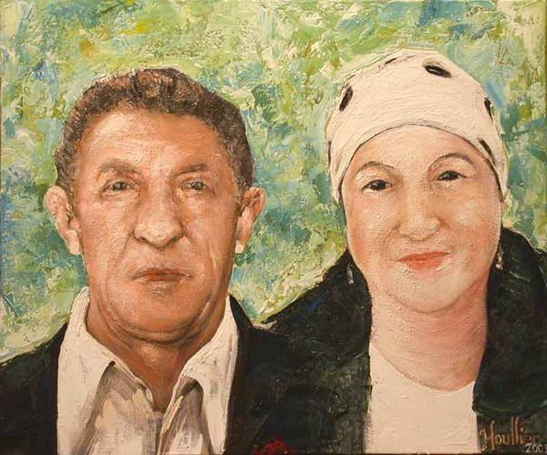Portraits de commandes d'aprés photos. Le tableau '' LES PARENTS DE RHANI ''. Peinture de Alexandre Houllier, artiste peintre dessinateur