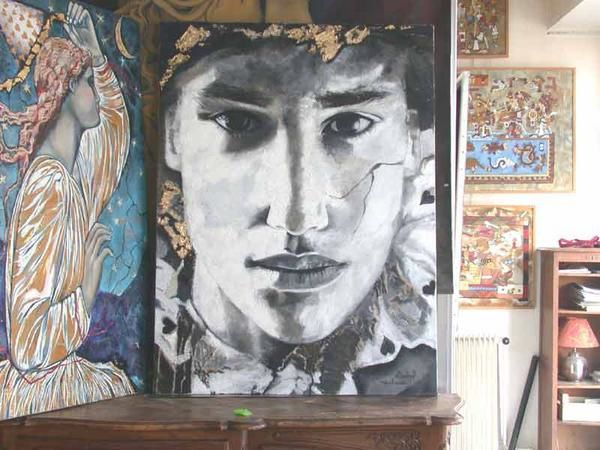 Oils on canvas, figures and portraits. Picture in the workshop. '' CASANOVA ''. Painting by Raphaelle Zecchiero, french artist painter