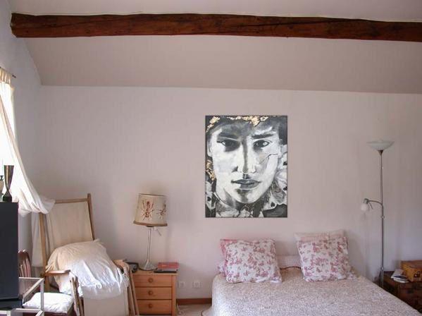 Oils on canvas, figure and portrait. Montage pour une idée de la taille de la toile '' CASANOVA ''. Painting by Raphaelle Zecchiero, french artist painter