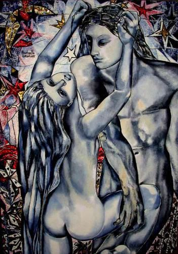 Modern contemporary art painting, big size picture, blu cubist nudes couples. '' TIAMO '' 162x130Cm by Raphaelle Zecchiero, french artist painter in provence