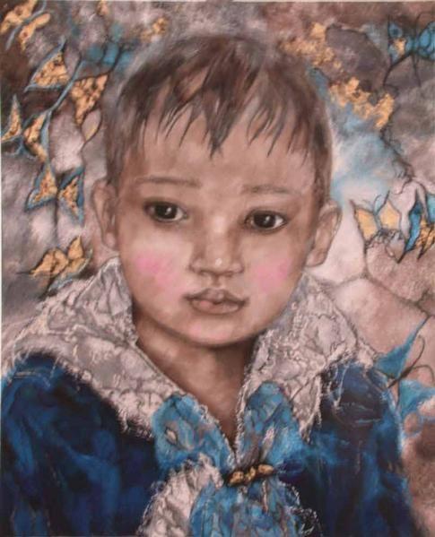 Portrait peinture, le tableau '' Portrait D'Angello '', toile de commande aux dimmensions de 100x81Cm.