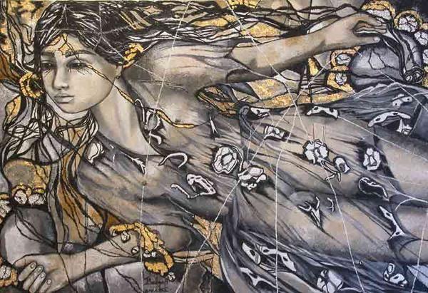 Oils on canvas, figure portrait and nude. Le tableau '' ESMERALDA ''. Painting by Raphaelle Zecchiero, french artist painter