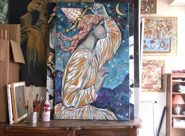 Oils on wood in the workshop, Le tableau '' MESSAGERE D'AMOUR ''. Painting by Raphaelle Zecchiero, french artist painter