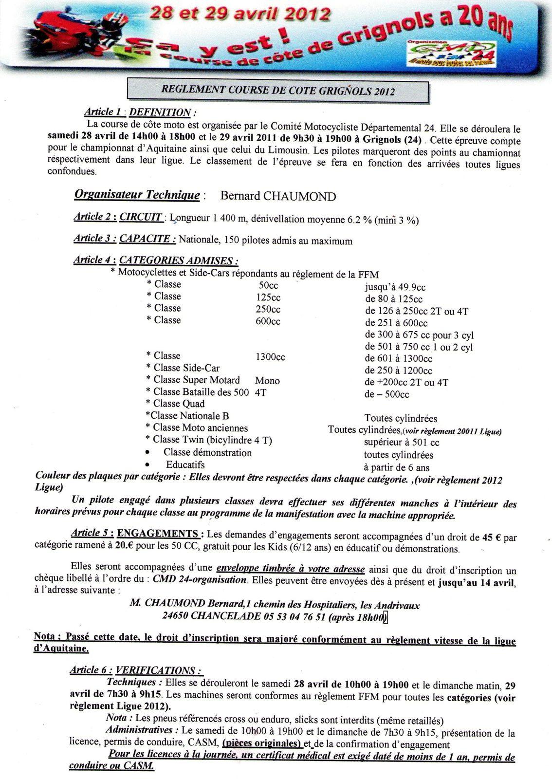 reglement 1 grignols 2012