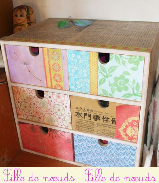 Customisation de petits mobiliers chaperon rose for Customisation de meuble