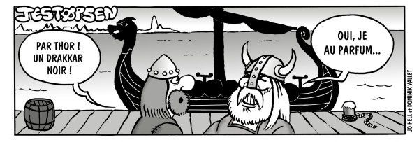 Tags : Jestopsen le viking, normand, Thor, Odin, Normandie, drakkar, strip humoristique, Capt'ain Swing, Mon Journal Multimédias, Jestopsen le viking, Thor héros, Jo Hell, Dominik Vallet, album, bd, bande dessinée, Groënland, humour, parodie, caricature, chasse, chasseur, mammouth