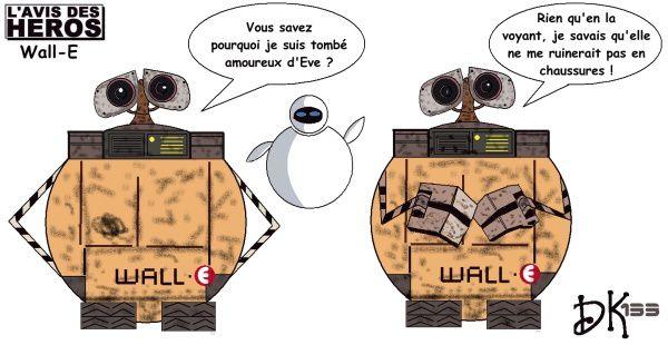 Tags : Wall-E, dessin animé, film d'animation Pixar, Walt Disney, Eve, amour, science fiction, dessin humour, image, l'avis des Héros