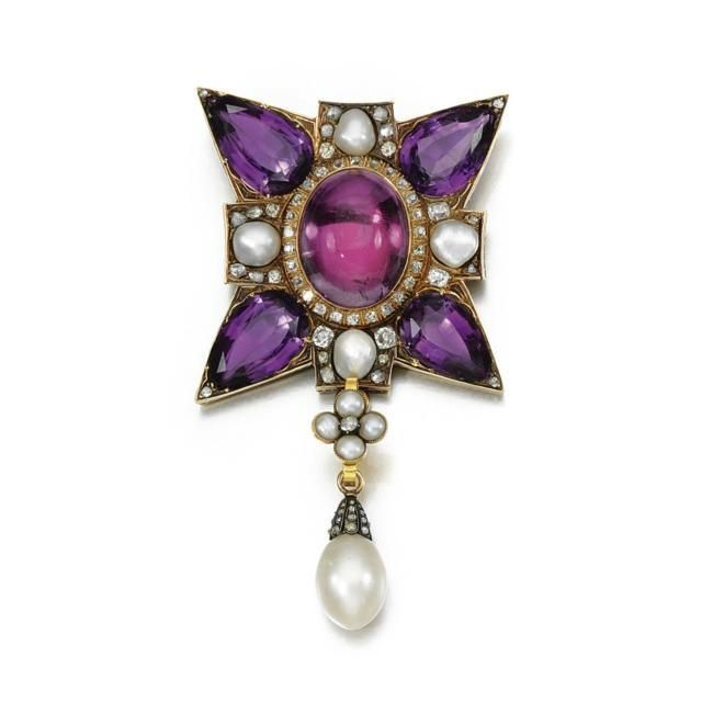 Amethyst--pearl-and-diamond-pendant--19th-century-jpg