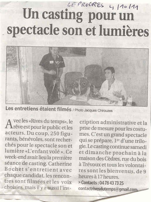ARTICLE LE PROGRES 4 OCTOBRE 2011