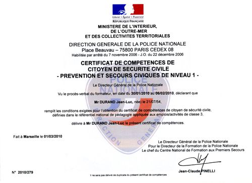 diplome PSC1 2010