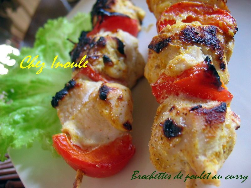 Brochettes de poulet au curry