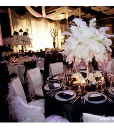 decoration table mariage plume