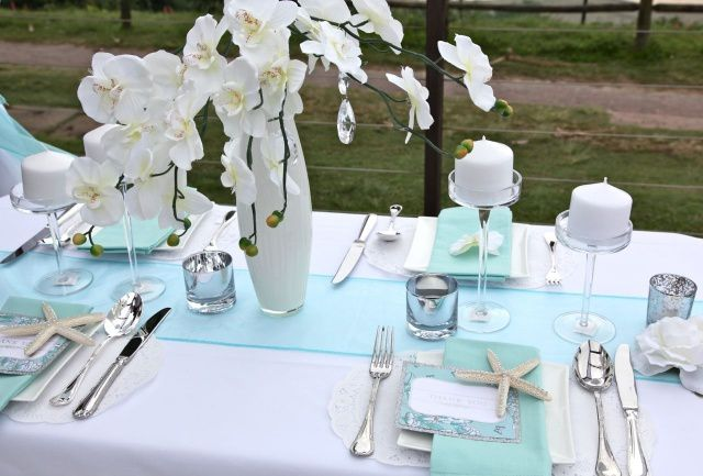 D coration de table mariage bleue th me mer mariage id es - Idee de mariage a theme ...