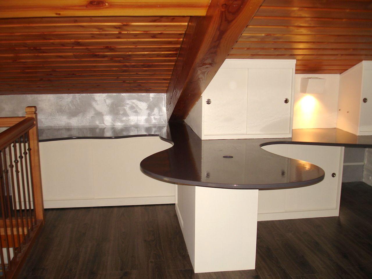 Création d'un espace bureau sous combles sur une mezzanine