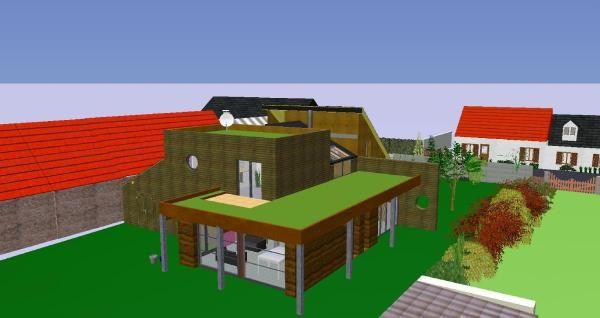 album vues 2d 3d pis bois et brique 3 mat riaux pour une maison. Black Bedroom Furniture Sets. Home Design Ideas