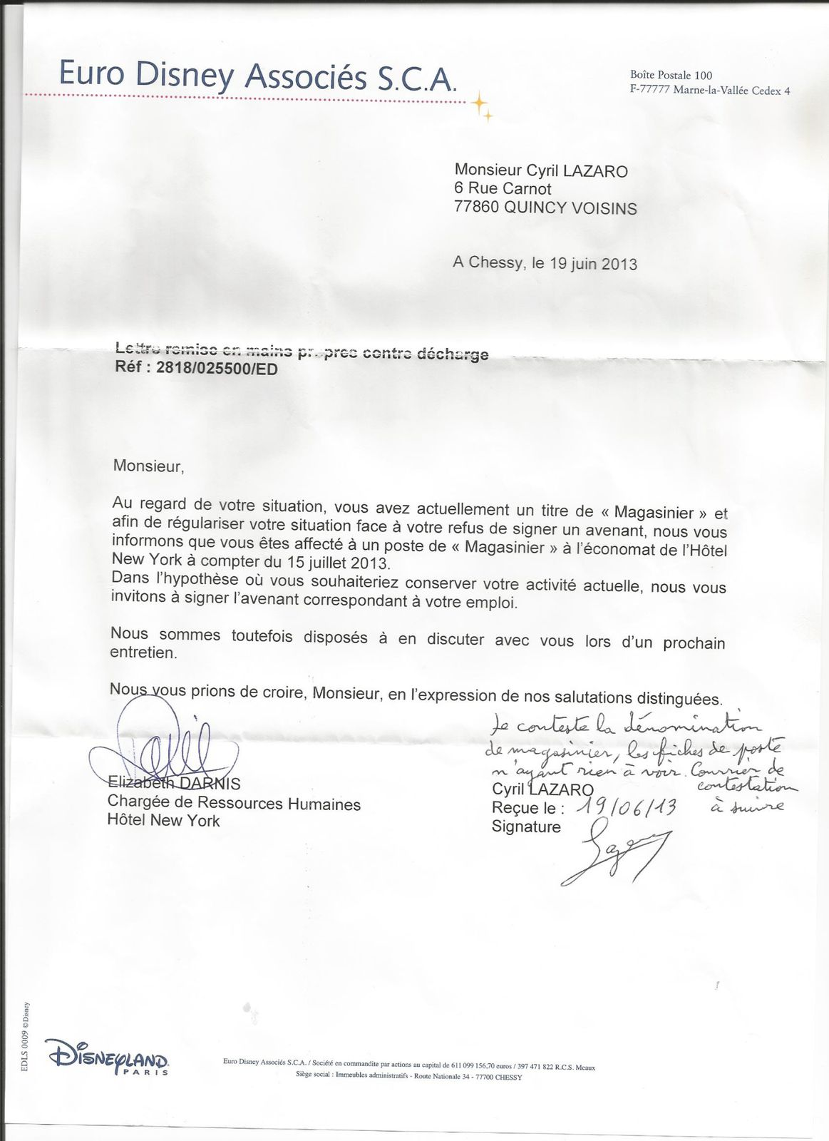 exemple lettre de motivation disneyland paris Disneyland Paris : courrier de réponse de Cyril LAZARO à Stéphane  exemple lettre de motivation disneyland paris