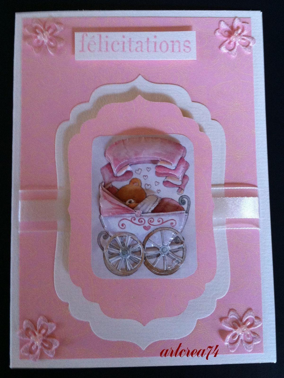 Carte naissance fille berceau